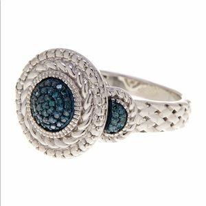 Savvy Cie Genuine Natural Blue Diamond Pave Ring
